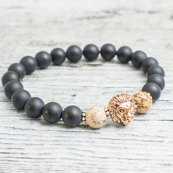 Matte black onyx & jasper stone beaded rose gold Lion head stretchy bracelet, made to order yoga bracelet, mens bracelet, womens bracelet