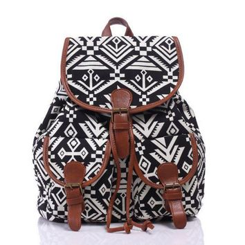 ONETOW Day-First? Ethnic Aztec Geometry Canvas Backpack Casual Daypack