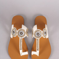 Qupid Toe Ring Beaded Flat Slip On Sandal