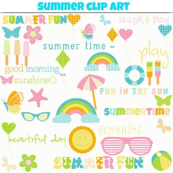 Clip Art: Summer Sun, Rainbows, Flowers, Balloons, Ice Creams, Butterflies and Beach Gear in Teal, Pink, Lime Green, Yellow, Orange & Pink
