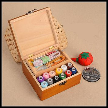 Wood Box Sewing Kit Needle Tape Scissor Multifunction Threads Sewing Accessories Tools Wooden Storage Box ElimElim