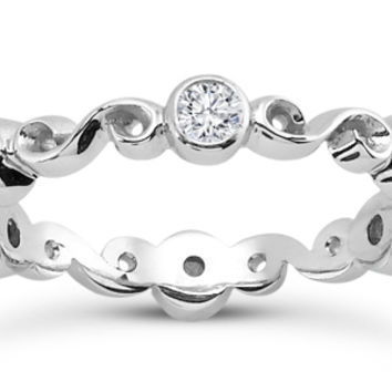 Wedding Band - Six Stone Infinity Diamond Wedding Band in 14K White Gold