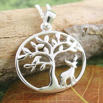 Solitary Moose Beneath Tree of Life Necklace