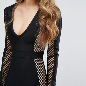Missguided Peace + Love Fishnet Panel Bandage Midi Dress at asos.com