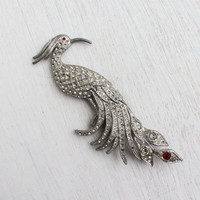 Vintage Art Deco Rhinestone Peacock Brooch - Antique Silver Tone Pot Metal 1930s Costume Jewelry / Large Bird