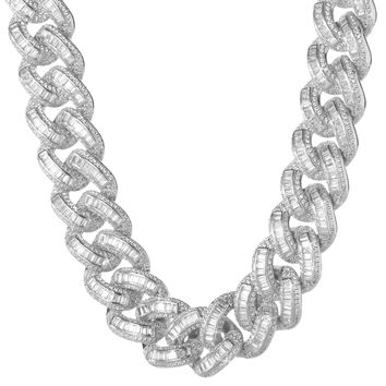 19mm Iced Cuban Link Chain In White Gold