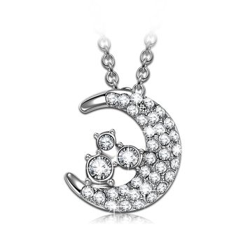 """""""Luna"""" Star Moon Design Necklace, Women Pendant with Swarovski Crystal. Jewelry Gift for Wife Girlfriend on Anniversary Day"""