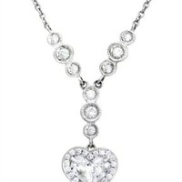 Diamond 18k White Gold Heart Antique Style Heart Necklace