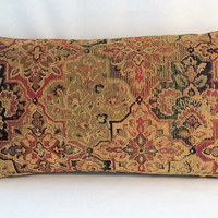 """Jewel Tone Tapestry Pillow, 12 x 22"""" Lumbar, Gold Red Green Blue Chenille , Florentine Medallion, Cover Only or Insert Included"""