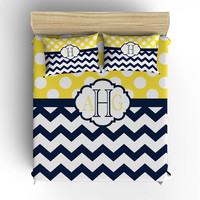 DUVET COVER, BEDDING Comforter, Polka Dot Chevron Pattern, Pillow Sham, Navy Yellow, Toddler, Twin, Queen, King, College Dorm, Girl Bedroom
