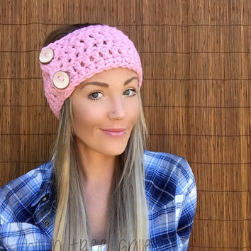 Lamb's Wool Baby Pink Wrap Headband Hair Accessory Fashion Neckwarmer Scarf w/ Reclaimed Wood Buttons Breast Cancer Awareness Women Girl