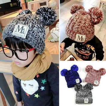 2016 Baby Kint Hat Korean New Unisex Baby Boy Girl Children Dual Ball Knit Sweater Cap  Winter Star Hats  Beanies Accessories