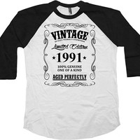 Funny Birthday T Shirt 25th Birthday Gift Ideas Custom Year Personalized TShirt Vintage 1991 Birthday Aged Perfectly Baseball Tee - BG49