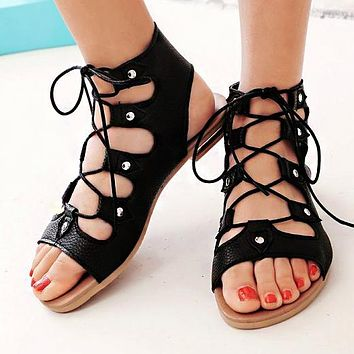 New Flat Bottom Hollow Roman Sandals Large Size Laces for Women's Shoes