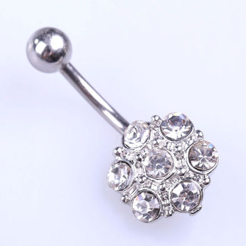 Fashion Flower Woman Belly Button Ring Pendant Crystal Beads White  SN9
