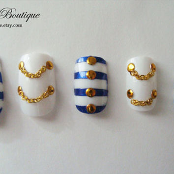 3D Bling Fake Nail Set - Blue, Gold, and White Striped Nautical Sweet Kawaii Sailor Nails with Chains, Bows, and Studs