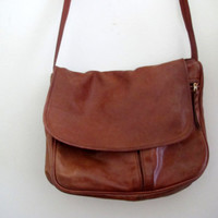 Vintage Leather Purse Satchel Brown Bag Handbag Boho