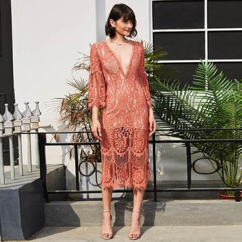 Sexy dress women 2018 deep V neck hollow patchwork long dress  flare sleeve loose pink mid-calf elegant maxi party lace dress