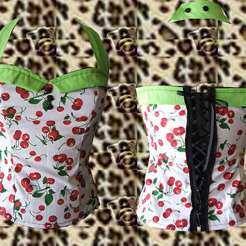 Rockabilly/ Psychobilly/ Retro/ Vintage/ Pin up/ Lime Green Cherries Print Corset Halter Top. Size. Large