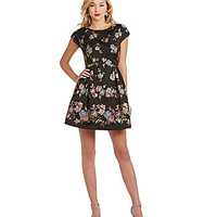 French Connection Gardini Metallic Floral Fit-and-Flare Dress - Multi