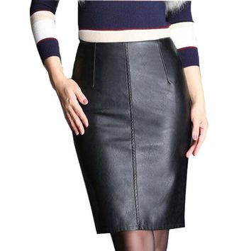Women Plus Size High Waist Slim Leather Skirts