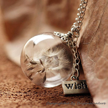 Nature Inspired Jewelry Real Dandelion Necklace Pendant Gift (HM0097)