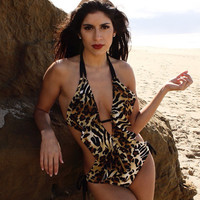 Animal low cut ruffle monokini