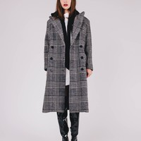 [SAMPLE] Hooded Plaid Maxi Coat