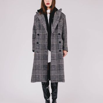 Hooded Plaid Maxi Coat