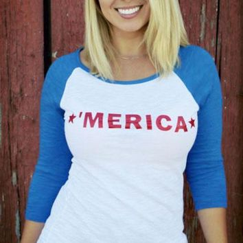 "'Merica 3/4 Sleeve Jr.  ""Slub"" Burnout Baseball Tee"