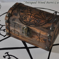 "Supernatural Inspired  ""Antiqued Wood Burnt Curse Chest"" Curse Box"