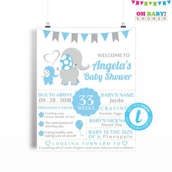 Welcome Sign Baby Shower, Elephant Baby Shower, Baby Shower Poster, Chalkboard Sign Template, Boy Baby Shower Printable, 16x20 Digital ELLBG