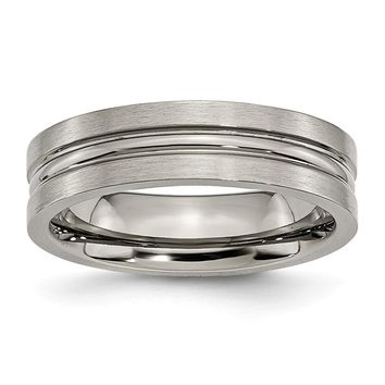 Grooved Center Ring in Titanium - 6 Mm