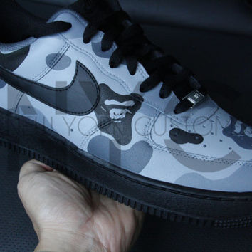 Bape Grey Camo Nike Air Force 1 Low Black Men Women & Kids