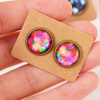 Colour Shadows Earrings (FOUR options),Bokeh, cabochon,post earrings,cute,vintage style,handmade for her,colourful
