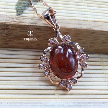 Vintage Chinese Style Pendant Garnet gemstone in 925 Sterling Silver Necklace