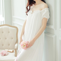 New Arrivals Summer Long Nightgowns O-neck Loose Ladies Dresses Princess Sleep Wear Solid Lace Home Dress Sexy Nightdress #H10