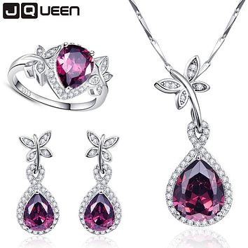 Wedding Bridal Jewelry Sets 925 Sterling Silver Necklace Earrings Ring Jewelry Set Water Drop Garnet Ring Size 6 7 8 9