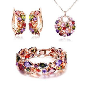 HEART Multicolor Zircon Pendant Necklace Bracelet Earrings Jewelry Set,Women Fashion Jewelry Set,Valentines Day Gifts Birthday Gifts Anniversary Gifts Christmas Gifts for Women Mom Grandma