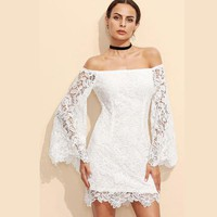 Off Shoulder Long Trumpet Sleeves Short Lace Dress