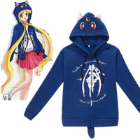 New Anime Sailor Moon Harajuku Cat Cartoon COS Hooded Hoodies gothic Sweatshirt Costume Cute Luna Kawaii Hoodies Lolita Coat