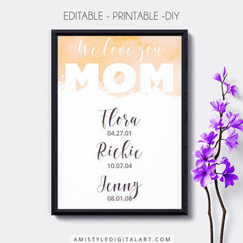 Special Date Wall Art,Printable,Orange,Mother's Day, Editable,Birth Dates,Dates to Remember,Digital Download,Wall Art,Home Decor,Nursery Art