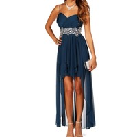 Deena- Dark Teal Thin Straps Hi Lo Dress