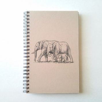 Elephants, 5x8 Journal, spiral notebook wire bound diary, sketchbook, brown kraft notebook white journal, handmade, gift for writers