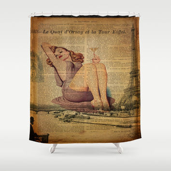 vintage scripts purple dress pin up girl drinking martini paris eiffel tower art Shower Curtain by Chicelegantboutique