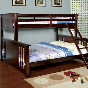 Spring Creek III Dark Walnut Wood Finish Twin Over Queen Bunk Bed with Front Angled Ladder