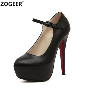 ZOGEER 2017 Spring Autumn Fashion Ankle Strap Women Pumps High Heels Black Nude Platform Women Shoes Plus Size 40