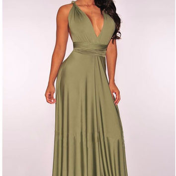 Olive Green Multi way Convertible Wrap Maxi Dress Dresses