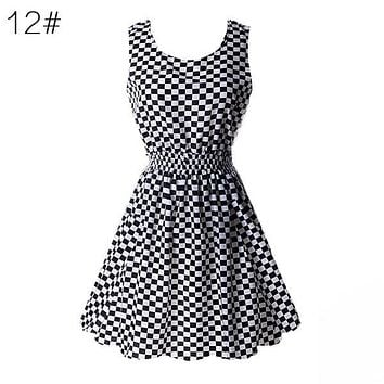 Checker Chiffon Sleeveless Sun Dress