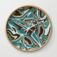 Teal Brown Beige and Gold Abstract Liquid Art Wall Clock by stdjura